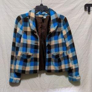 H&M size 6 blue cream and brown jacket